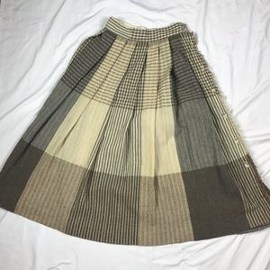 Vintage Patchwork High Waist Wool Blend Skirt